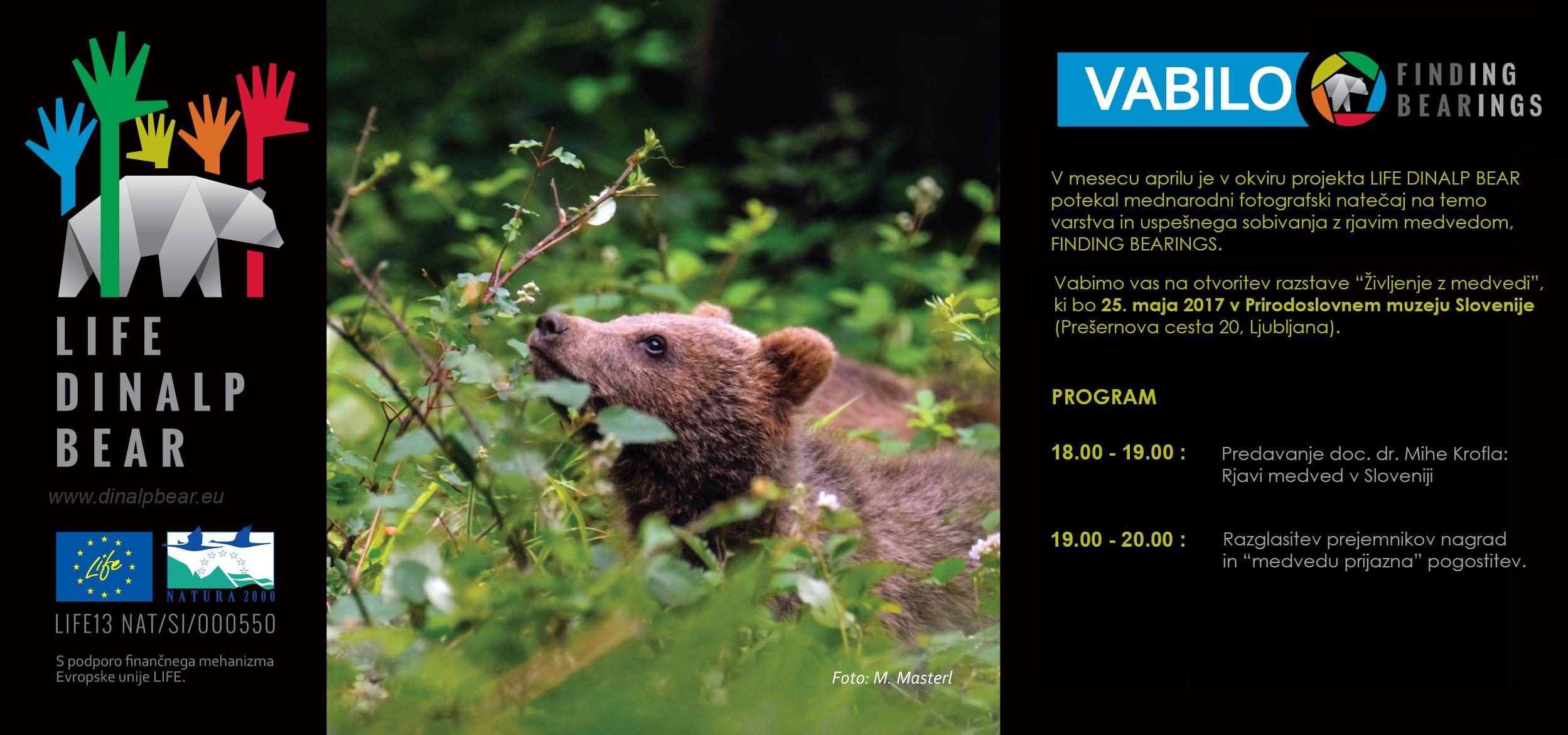 """Vabilo na otvoritev fotografske razstave """"Življenje z medvedi"""""""